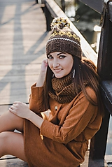 Čiapky - Hnedá vzorovaná čiapka  - 10076506_