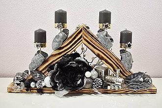 Svietidlá a sviečky - Adventný svietnik: Ligotavé Vianoce T50406 - 10079055_