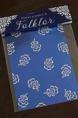 Pohľadnica Folklór -metalická modrá