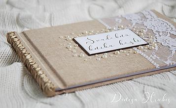 Papiernictvo - Svadobná kniha hostí s perličkami - 10079949_