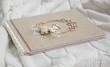 Papiernictvo - Svadobná kniha hostí s ružičkou - 10080059_
