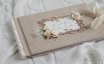 Papiernictvo - Svadobná kniha hostí s ružami - 10080134_