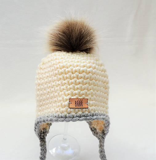 fbd84ab95 Maslovo sivá zimná detská čiapka s kožušinkou / terilh - SAShE.sk ...
