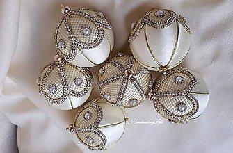 Dekorácie - Smotanovo zlaté gule - 10080959_