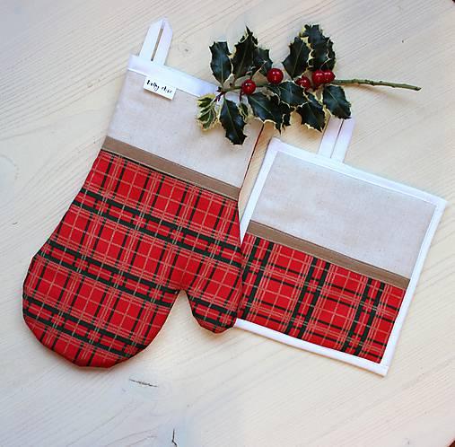set rukavica+chňapka Vianočné káro