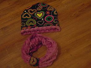 Detské čiapky - Set - čiapka a nákrčník minky - 10081234_