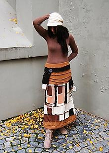 Sukne - lel sukňa patchwork hnedo-kocková veselá - 10085342_
