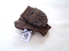 Rukavice - Rukavice tedy hnedé našuchorené - 10084676_