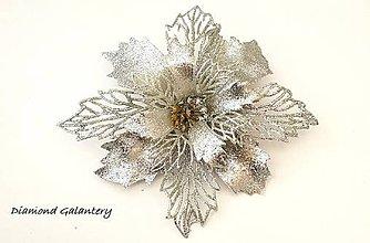 Iný materiál - Vianočná ruža - strieborná - 10084597_