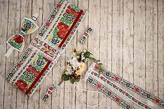 Ozdoby do vlasov - Biely folk set pre neho a pre ňu na svadbu/spoločenské akcie - 10080329_