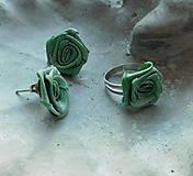 Sady šperkov - vintage sada romantika ružičky v zelenom - 10084029_