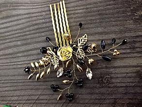 Ozdoby do vlasov - hrebienok zlatá ruža + čierna - 10080965_