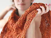 Šály - HANDSPUN FALL hrubá pletená vlnená šatka - 10082242_
