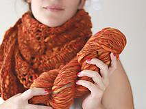 Šály - HANDSPUN FALL hrubá pletená vlnená šatka - 10082246_