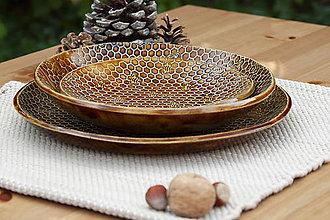 Nádoby - Plytký tanier - medová kolekcia - 10084770_