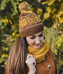 Čiapky - Hnedá čiapka so vzorom - 10080584_