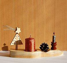Svietidlá a sviečky - Drevená dekorácia - Vianočný svietnik 2 - 10083725_