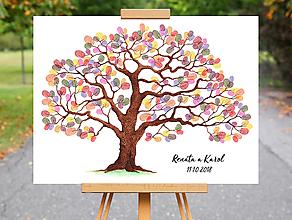 Grafika - Maľovaný strom na odtlačky prstov - grafika - 10083459_