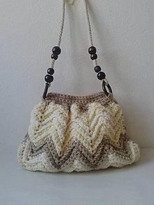 Kabelky - Háčkovaná kabelka na rameno- béžová - 10082377_