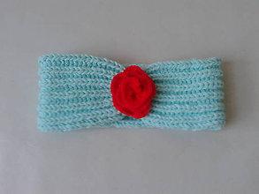 Detské čiapky - čelenka tyrkysová - 10082566_