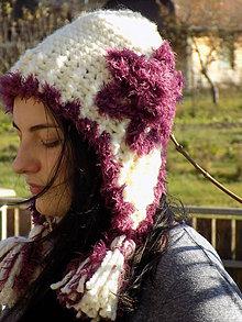 Čiapky - čiapka hačkovaná bielo -ružová ...strapatá - 10085301_