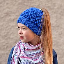 Detské čiapky - Čiapka na cop/vrkoč - 10084053_