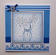 Papiernictvo - Modrá vianočná s jeleňom - 10085146_