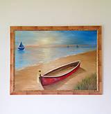 Obrazy - Loďka na brehu, olejomaľba, obraz - 10080583_