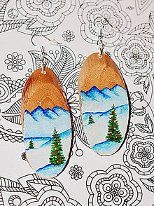 Náušnice - Drevené náušnice Vianočné - 10083399_