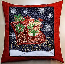 Úžitkový textil - Povlak na vankúš - Sane s darčekmi - 10084866_