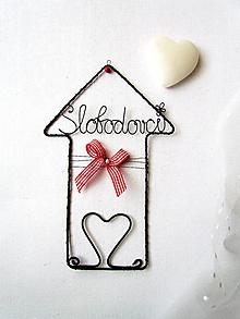 Dekorácie - domček s menom (výška 17 cm) - 10083189_