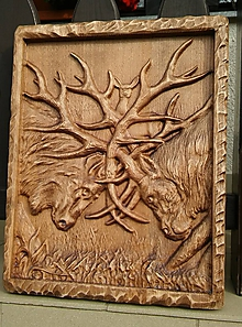 Obrazy - Drevorezba Bojujúce jelene - 10087825_