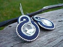- Soutache náušnice Silver & Blue - 10089616_