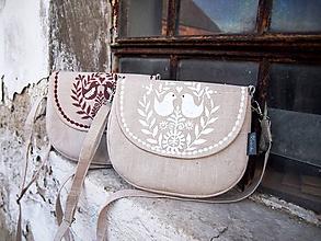 Kabelky - Maľovaná ľanová kabelka s bielym vzorom - 10086633_