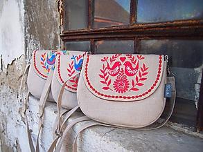 Kabelky - Maľovaná ľanová kabelka s červeným vzorom - 10086645_
