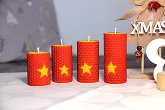 Svietidlá a sviečky - adventné sviečky z včelieho vosku s hviezdou - 10086483_