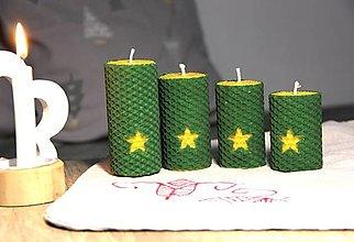 Svietidlá a sviečky - adventné sviečky z včelieho vosku s hviezdou - 10086507_