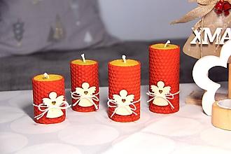Svietidlá a sviečky - adventné sviečky z včelieho vosku s dreveným anjelom - 10086541_
