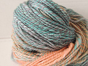Materiál ručne robený - Modro oranžovo sivá - ručne farbená a ručne pradená merino vlna - 10089019_