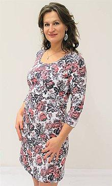 Tehotenské/Na dojčenie - 3v1 dojčiace TEPLÉ šaty, 3/4 rukáv, veľ. L-XL - 10085513_