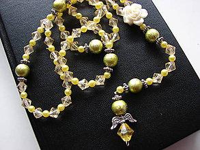 Náhrdelníky - ruženec (Žltá) - 10089173_