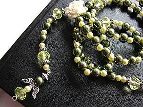 Náhrdelníky - ruženec (Zelená) - 10089177_