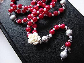 Náhrdelníky - ruženec (Ružová) - 10089187_
