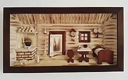 "Obrázky - Obraz drevený 3D ""Kuchyňa s posteľou"" malá - 10086542_"