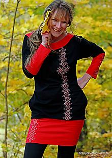 Šaty - Dámske šaty mini, šité, maľované, folk  EJ JAVOR, JAVOR - 10086000_