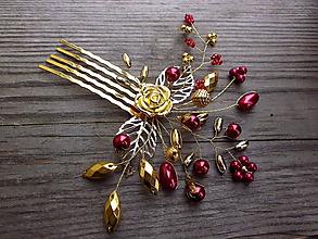 Ozdoby do vlasov - hrebienok zlatá ruža + červená - 10085968_