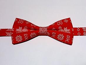 """Doplnky - pánsky motýlik """"čičmiansky vzor"""" (Červená) - 10089093_"""