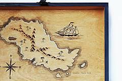 Detské doplnky - Maľovaná lodná truhlica s mapou - 10086346_