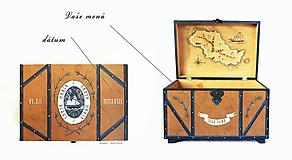 Detské doplnky - Maľovaná lodná truhlica s mapou - 10086348_