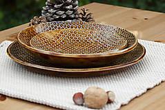 Nádoby - Set 3 tanierov - plytký, hlboký a dezertný - medová kolekcia - 10086450_